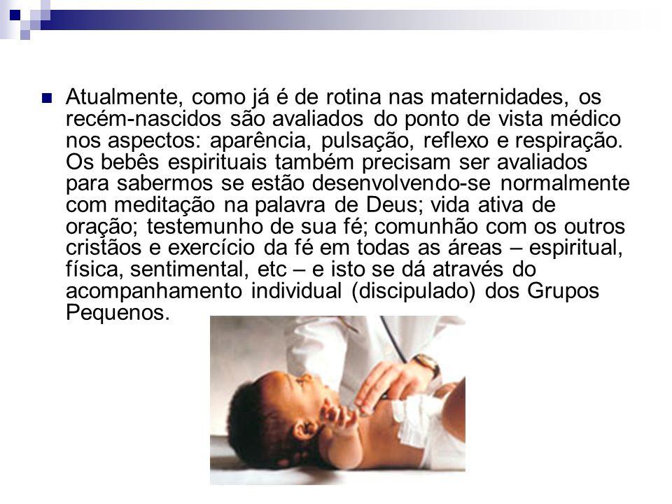 Atualmente, como já é de rotina nas maternidades, os recém-nascidos são avaliados do ponto de vista médico nos aspectos: aparência, pulsação, reflexo e respiração.