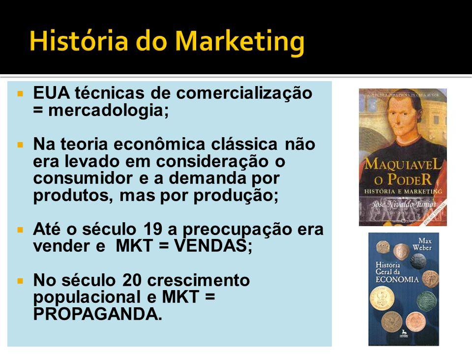 História do Marketing EUA técnicas de comercialização = mercadologia;