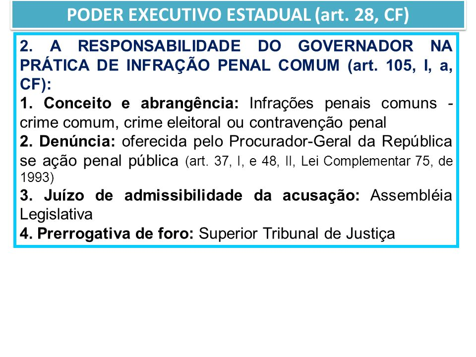 PODER EXECUTIVO ESTADUAL (art. 28, CF)