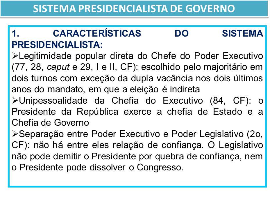 SISTEMA PRESIDENCIALISTA DE GOVERNO
