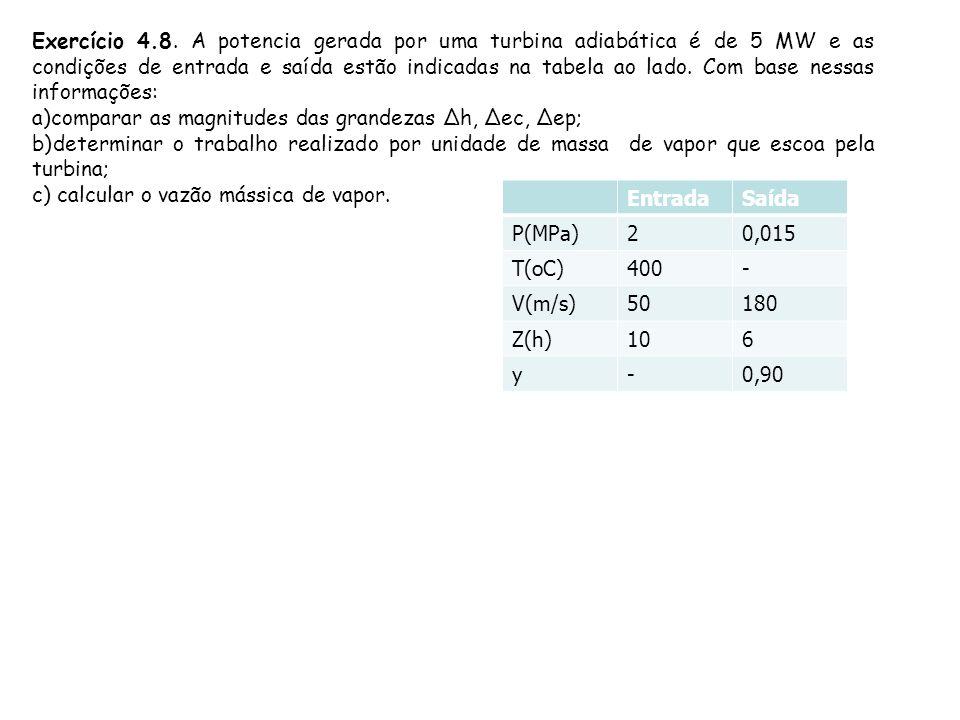 Exercício 4.8. A potencia gerada por uma turbina adiabática é de 5 MW e as condições de entrada e saída estão indicadas na tabela ao lado. Com base nessas informações:
