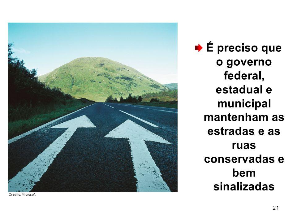 É preciso que o governo federal, estadual e municipal mantenham as estradas e as ruas conservadas e bem sinalizadas