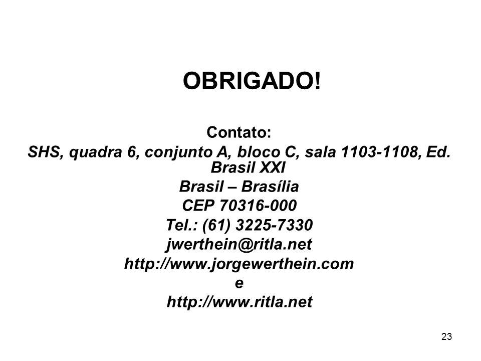 SHS, quadra 6, conjunto A, bloco C, sala 1103-1108, Ed. Brasil XXI