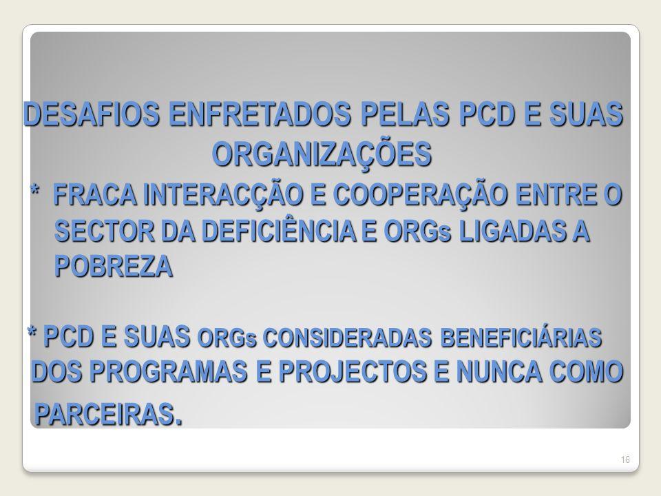 DESAFIOS ENFRETADOS PELAS PCD E SUAS ORGANIZAÇÕES