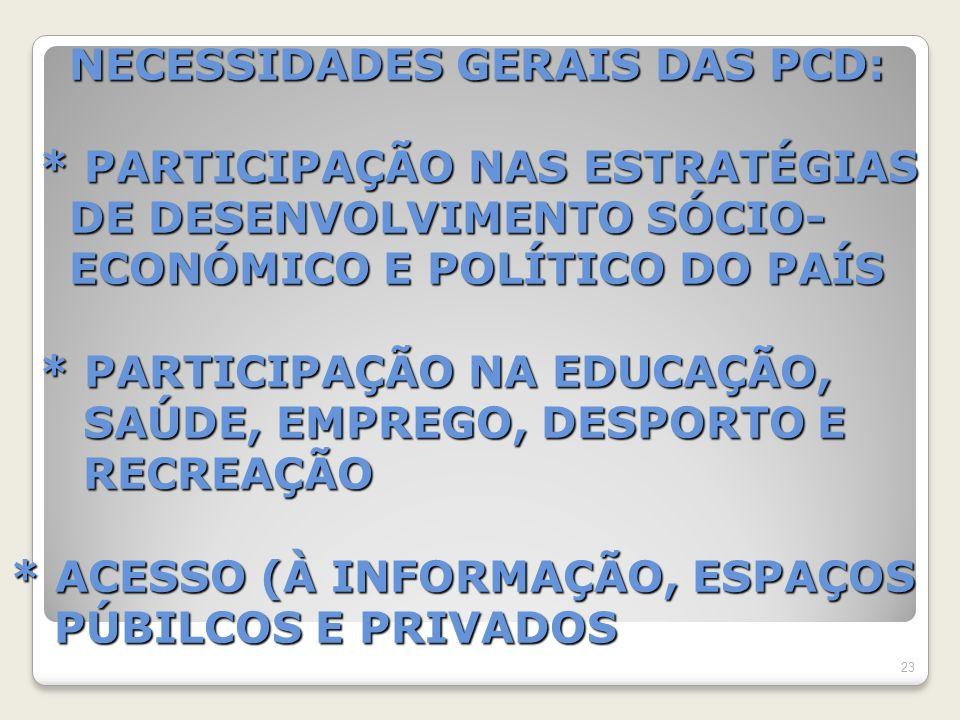 NECESSIDADES GERAIS DAS PCD: