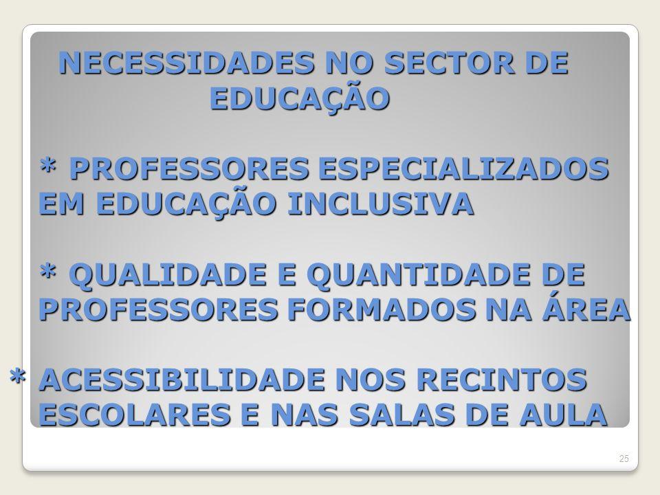 NECESSIDADES NO SECTOR DE EDUCAÇÃO