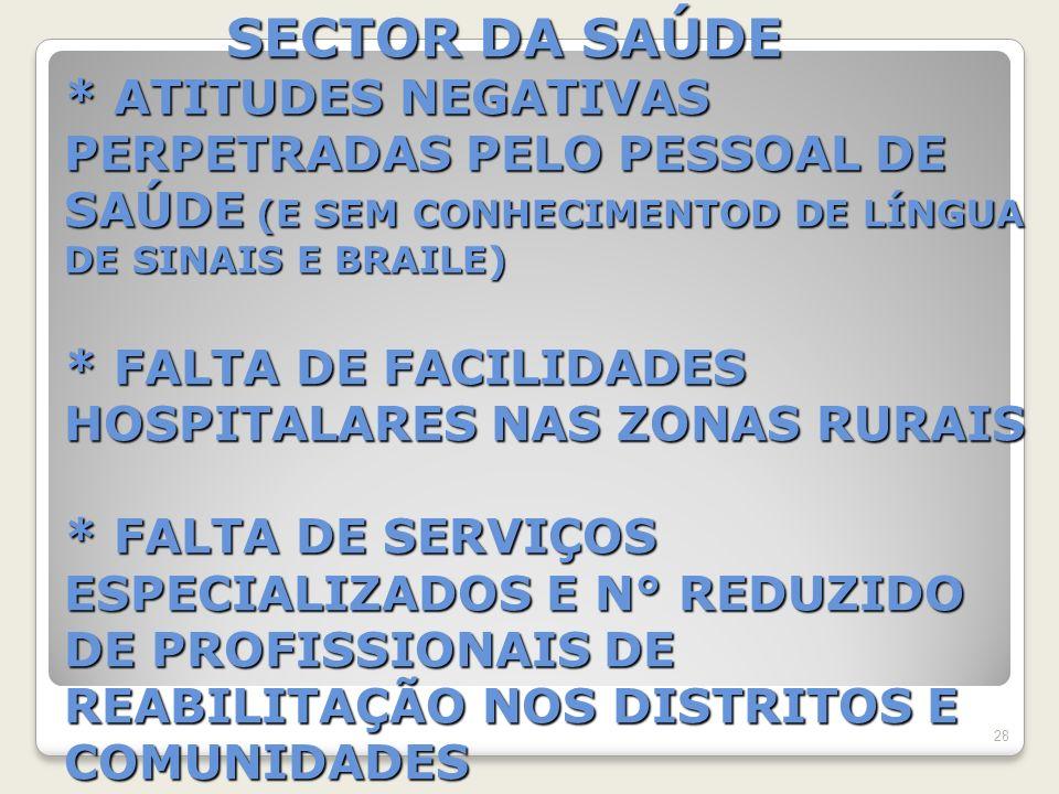 SECTOR DA SAÚDE * ATITUDES NEGATIVAS PERPETRADAS PELO PESSOAL DE SAÚDE (E SEM CONHECIMENTOD DE LÍNGUA DE SINAIS E BRAILE) * FALTA DE FACILIDADES HOSPITALARES NAS ZONAS RURAIS * FALTA DE SERVIÇOS ESPECIALIZADOS E N° REDUZIDO DE PROFISSIONAIS DE REABILITAÇÃO NOS DISTRITOS E COMUNIDADES