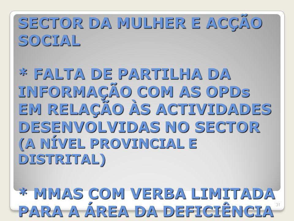 SECTOR DA MULHER E ACÇÃO SOCIAL