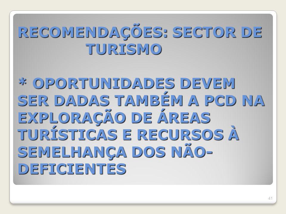 RECOMENDAÇÕES: SECTOR DE TURISMO