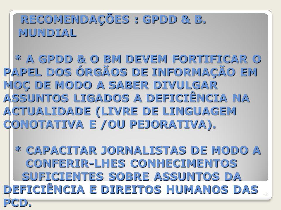 RECOMENDAÇÕES : GPDD & B. MUNDIAL