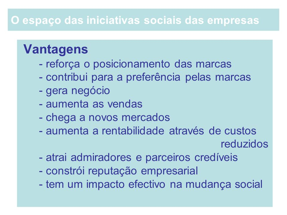 O espaço das iniciativas sociais das empresas
