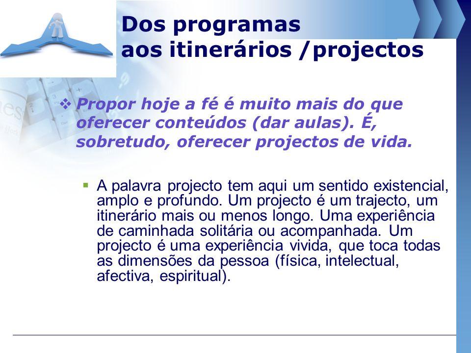 Dos programas aos itinerários /projectos
