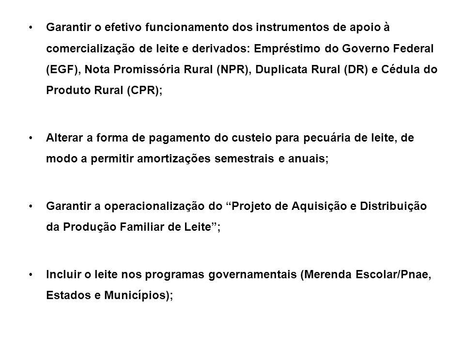 Garantir o efetivo funcionamento dos instrumentos de apoio à comercialização de leite e derivados: Empréstimo do Governo Federal (EGF), Nota Promissória Rural (NPR), Duplicata Rural (DR) e Cédula do Produto Rural (CPR);