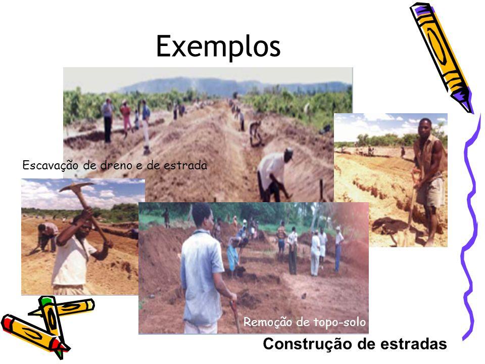 Exemplos Construção de estradas Escavação de dreno e de estrada