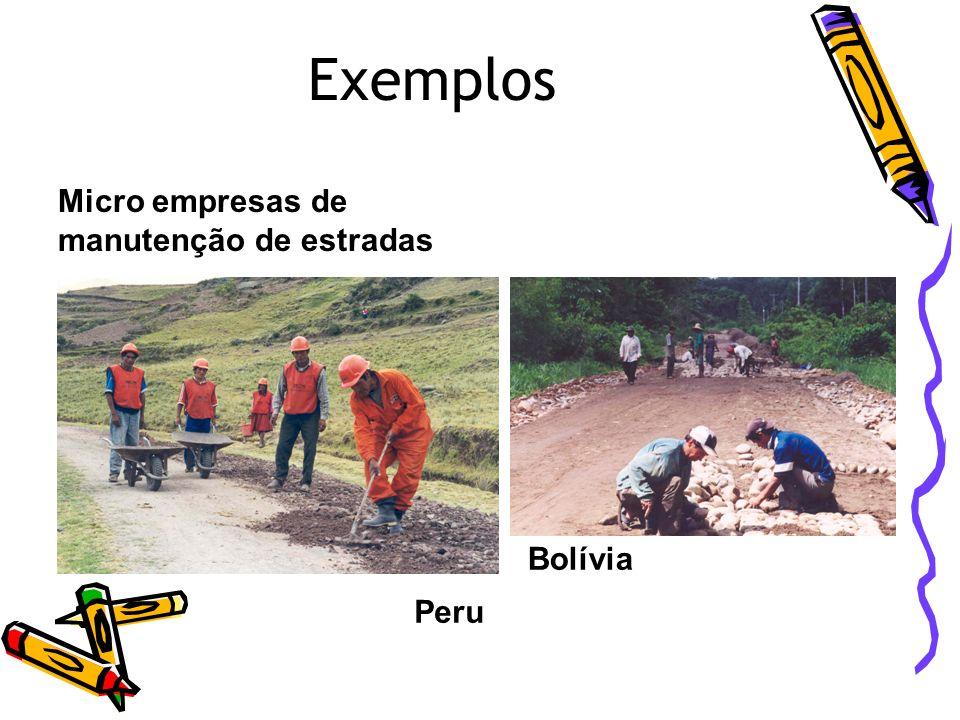 Exemplos Micro empresas de manutenção de estradas Bolívia Peru