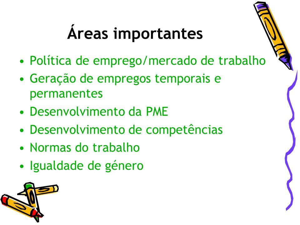 Áreas importantes Política de emprego/mercado de trabalho