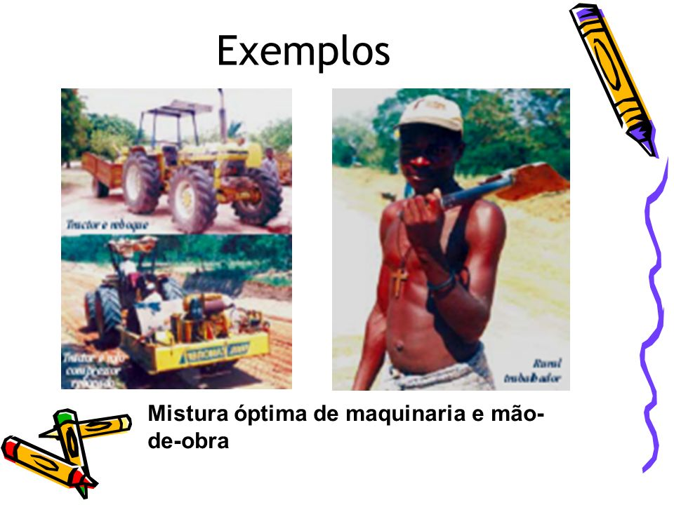 Exemplos Mistura óptima de maquinaria e mão-de-obra