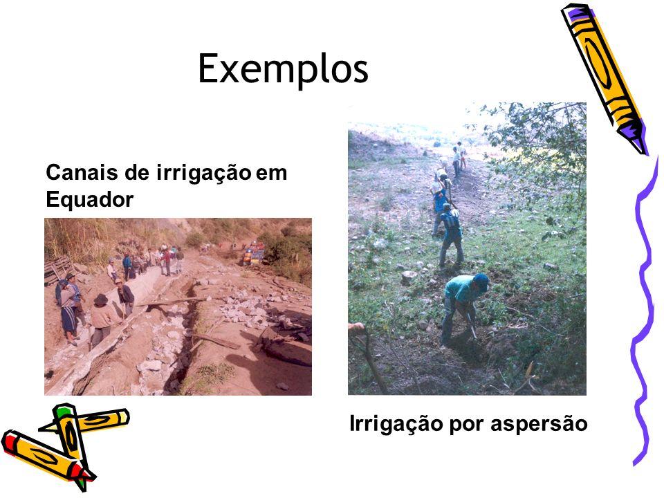 Exemplos Canais de irrigação em Equador Irrigação por aspersão