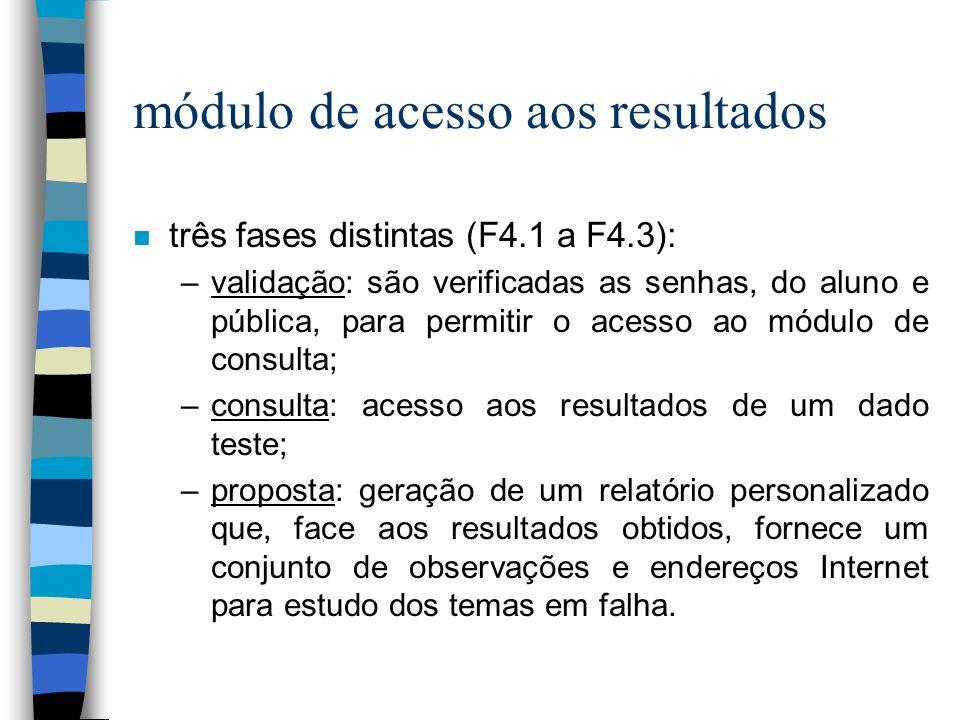 módulo de acesso aos resultados