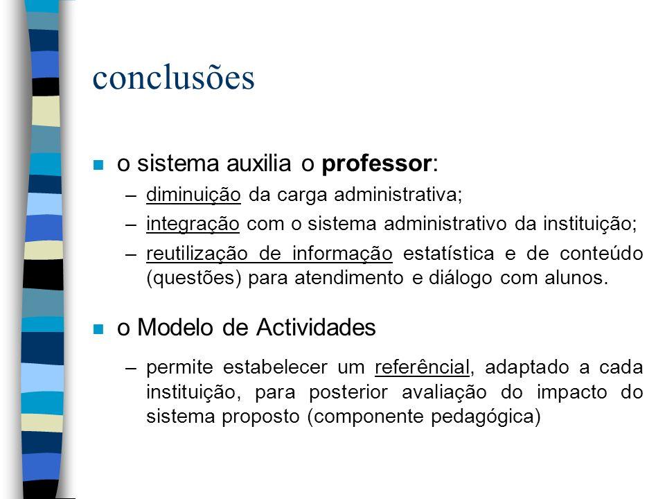 conclusões o sistema auxilia o professor: o Modelo de Actividades