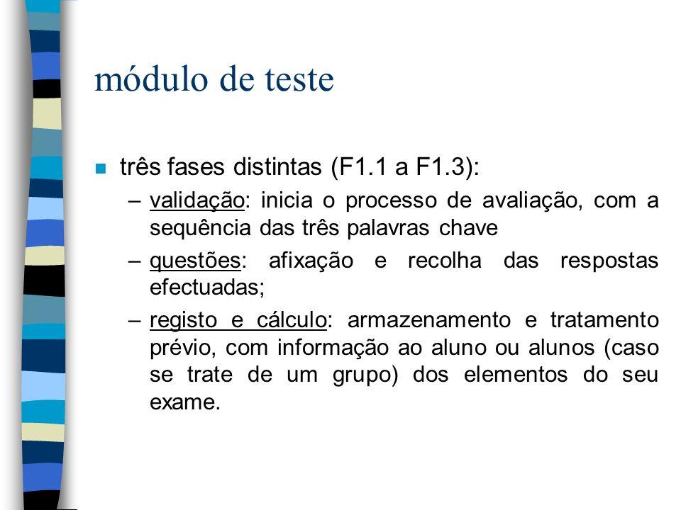 módulo de teste três fases distintas (F1.1 a F1.3):