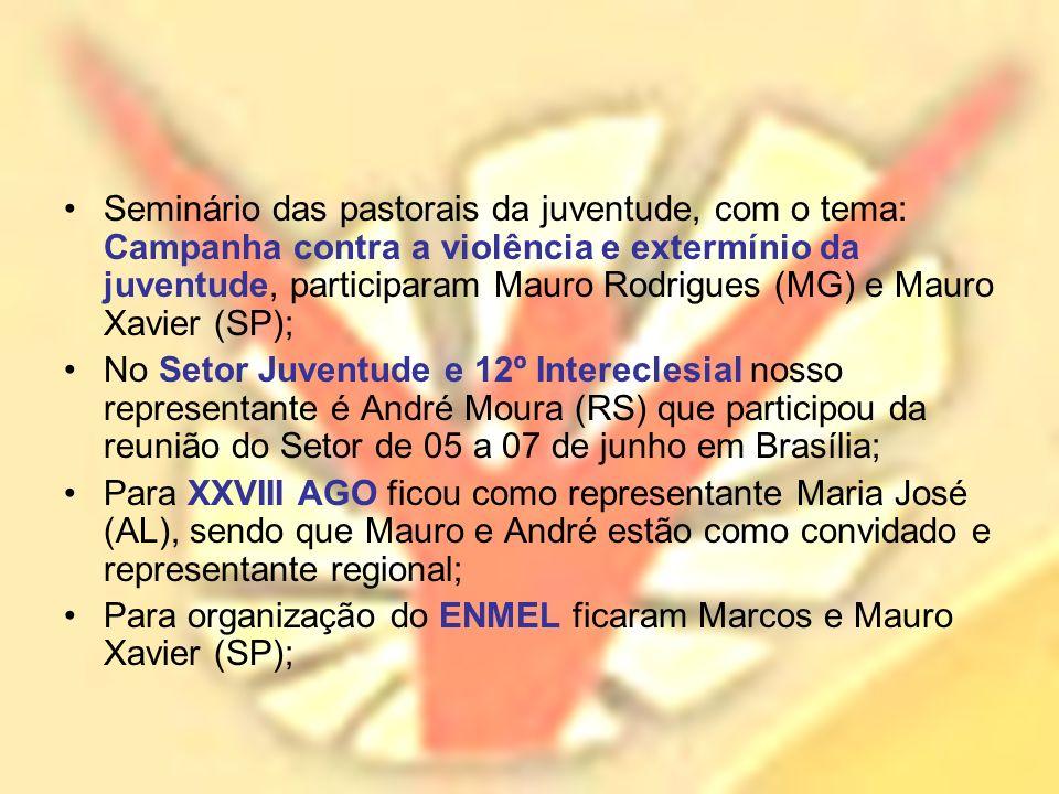 Seminário das pastorais da juventude, com o tema: Campanha contra a violência e extermínio da juventude, participaram Mauro Rodrigues (MG) e Mauro Xavier (SP);