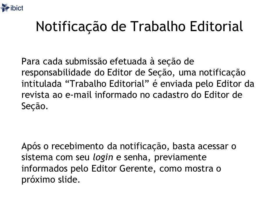Notificação de Trabalho Editorial