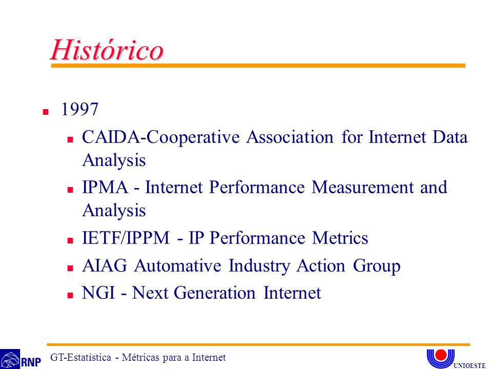 Histórico 1997. CAIDA-Cooperative Association for Internet Data Analysis. IPMA - Internet Performance Measurement and Analysis.