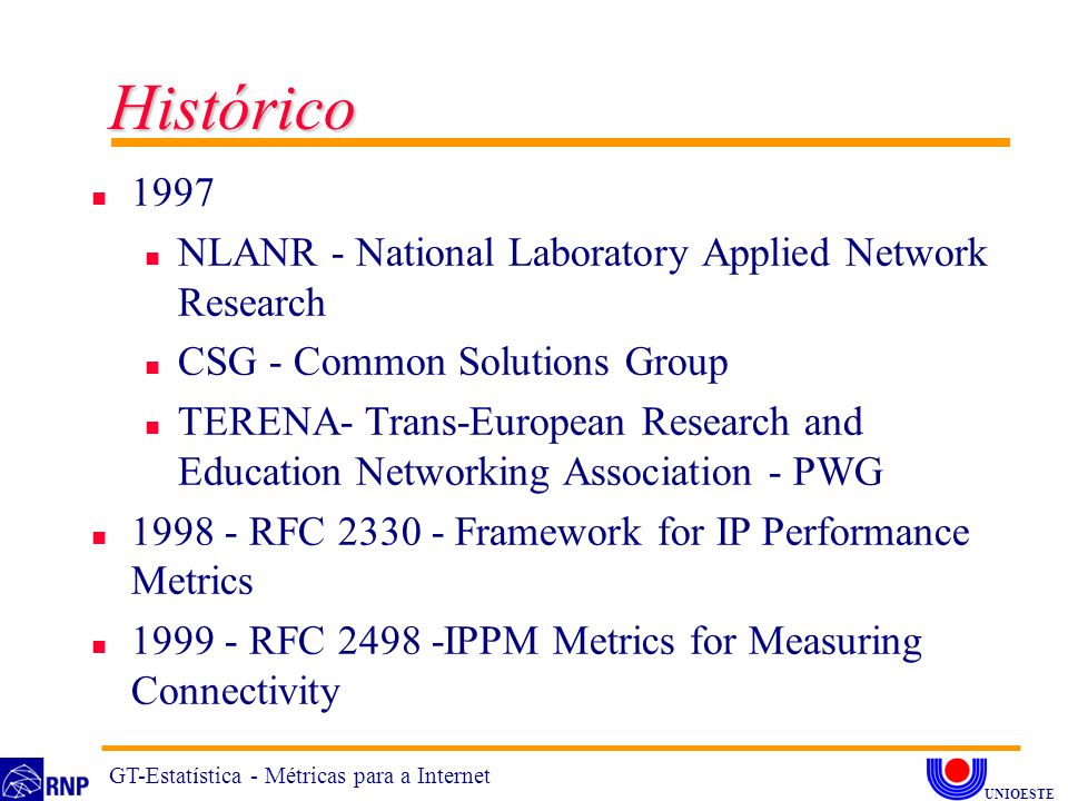Histórico 1997 NLANR - National Laboratory Applied Network Research