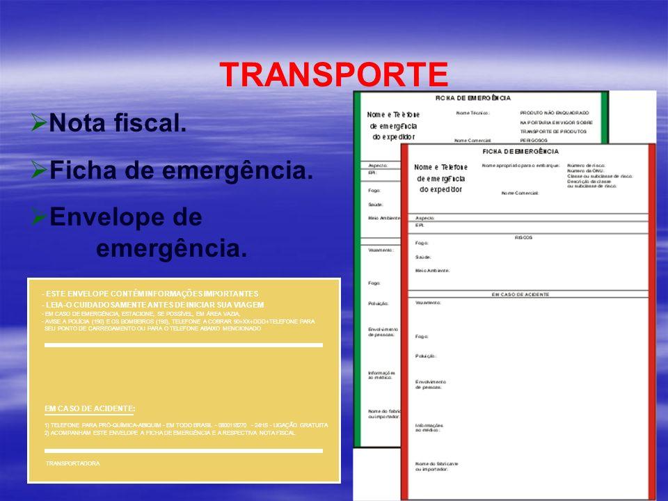 TRANSPORTE Nota fiscal. Ficha de emergência. Envelope de emergência.