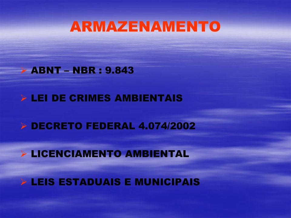 ARMAZENAMENTO ABNT – NBR : 9.843 LEI DE CRIMES AMBIENTAIS