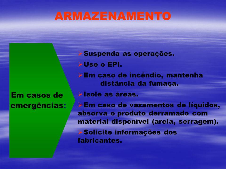 ARMAZENAMENTO Em casos de emergências: Suspenda as operações.
