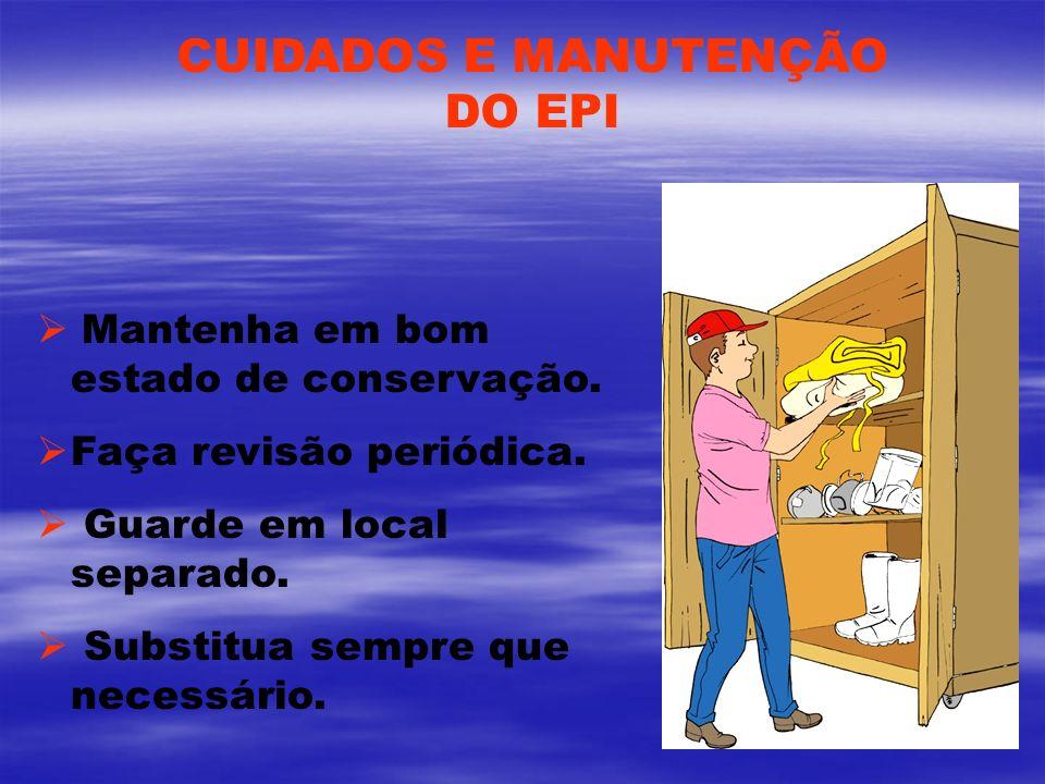 CUIDADOS E MANUTENÇÃO DO EPI Mantenha em bom estado de conservação.