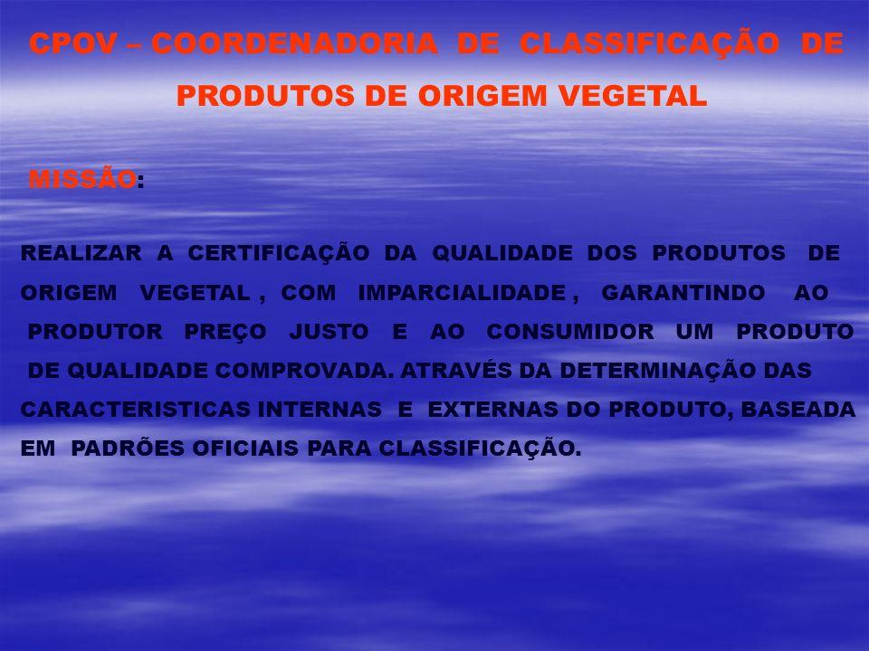 CPOV – COORDENADORIA DE CLASSIFICAÇÃO DE PRODUTOS DE ORIGEM VEGETAL