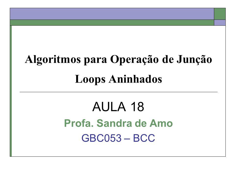 Algoritmos para Operação de Junção Loops Aninhados