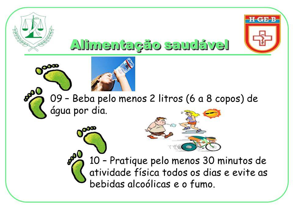 Alimentação saudável 09 – Beba pelo menos 2 litros (6 a 8 copos) de água por dia.
