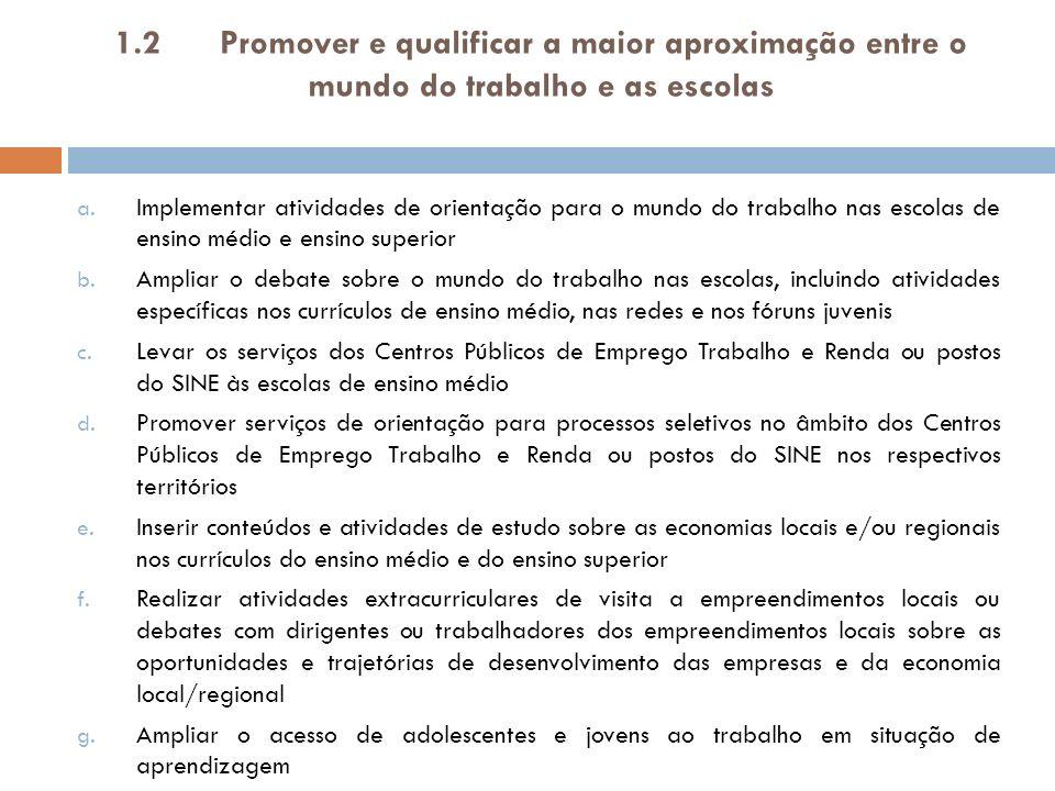 1.2 Promover e qualificar a maior aproximação entre o mundo do trabalho e as escolas