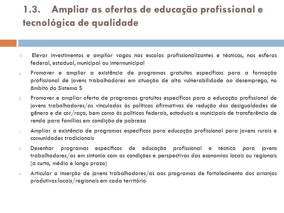 1.3. Ampliar as ofertas de educação profissional e tecnológica de qualidade