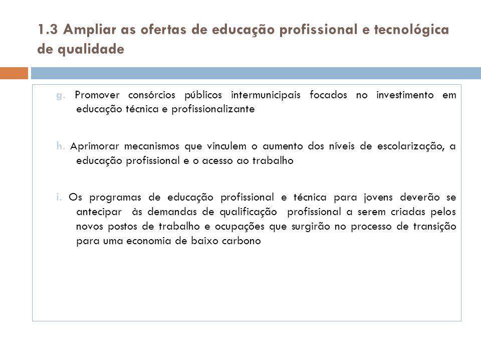 1.3 Ampliar as ofertas de educação profissional e tecnológica de qualidade