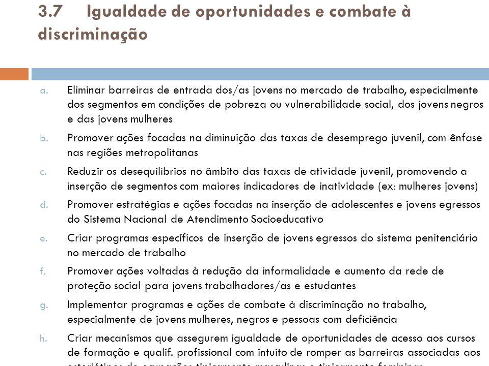 3.7 Igualdade de oportunidades e combate à discriminação