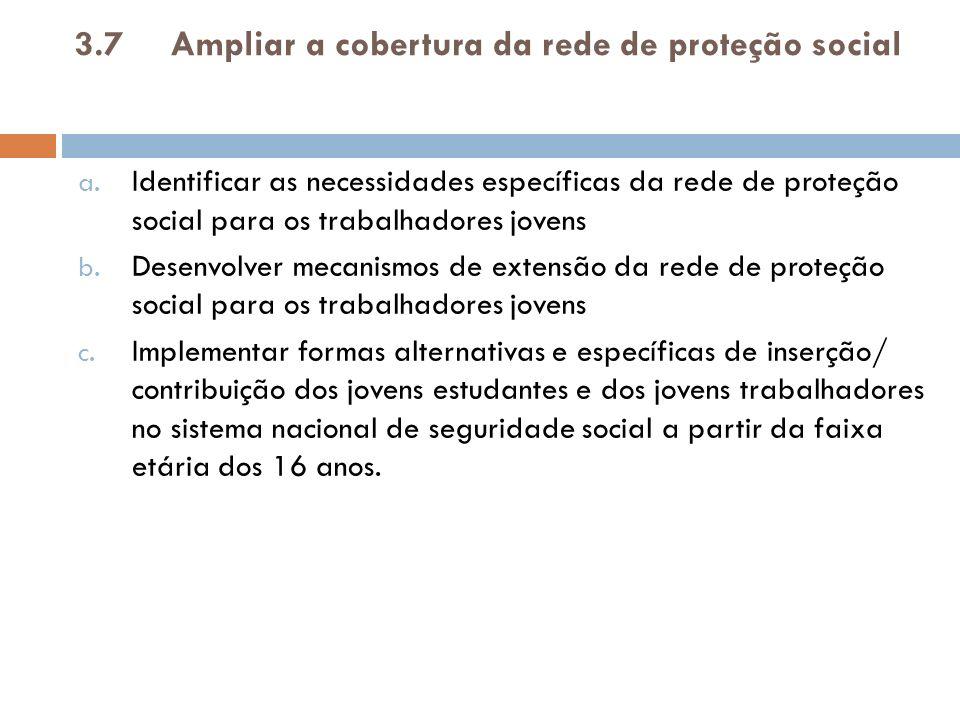 3.7 Ampliar a cobertura da rede de proteção social