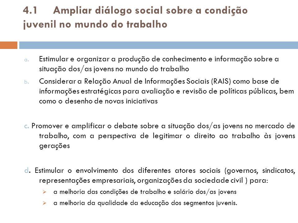 4.1 Ampliar diálogo social sobre a condição juvenil no mundo do trabalho