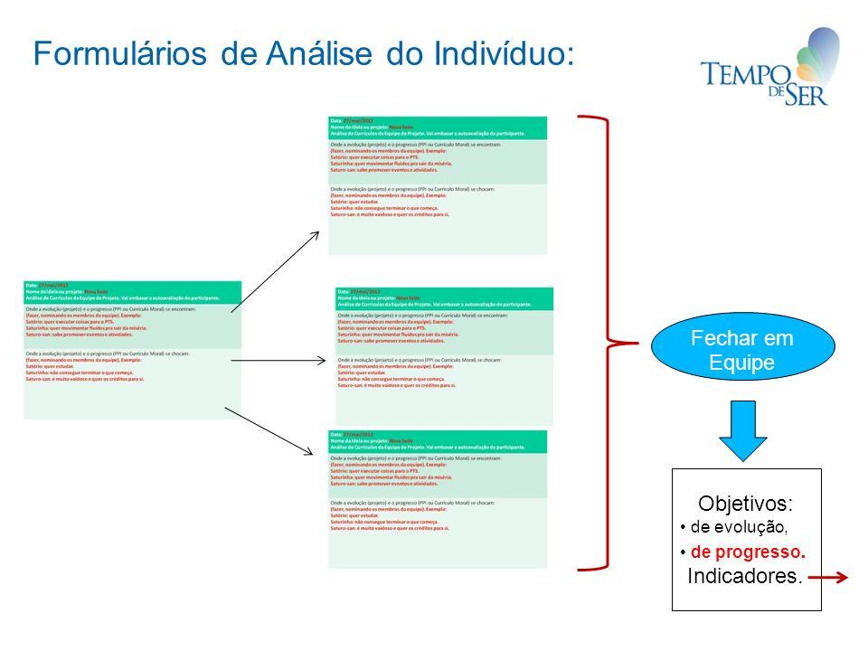 Formulários de Análise do Indivíduo: