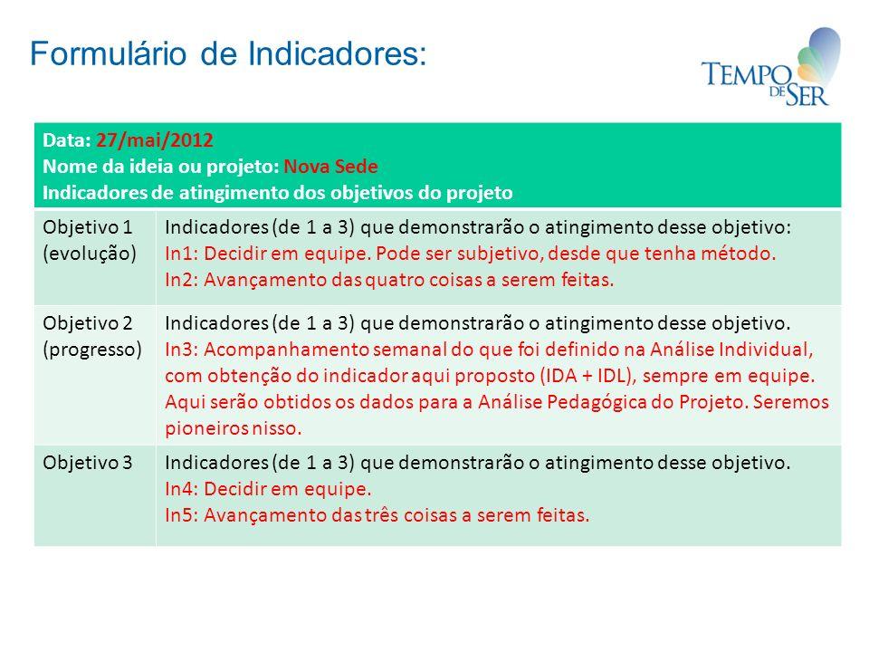 Formulário de Indicadores: