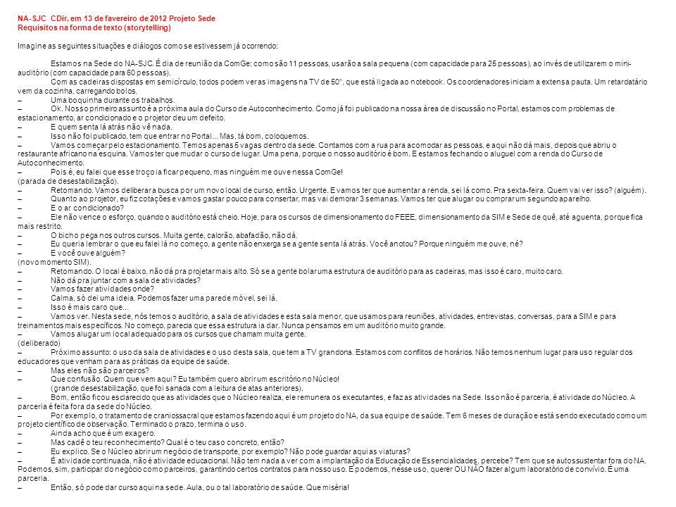 33 NA-SJC CDir, em 13 de favereiro de 2012 Projeto Sede