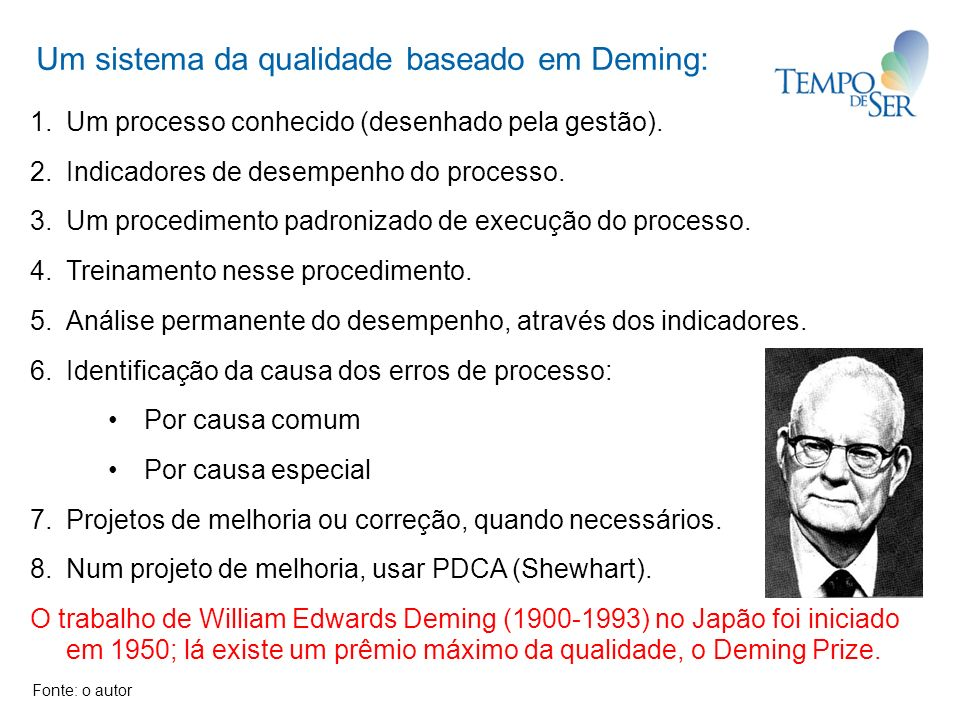 Um sistema da qualidade baseado em Deming: