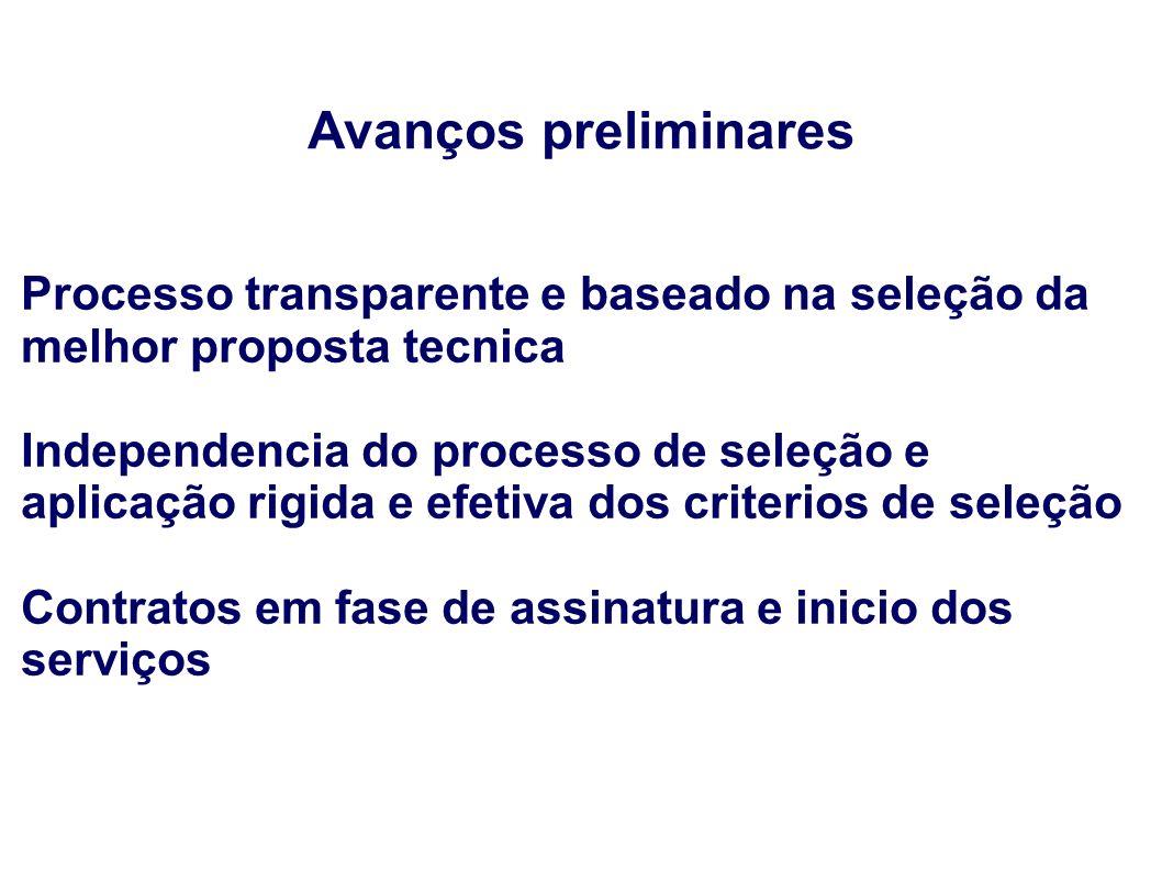 Avanços preliminares Processo transparente e baseado na seleção da melhor proposta tecnica.