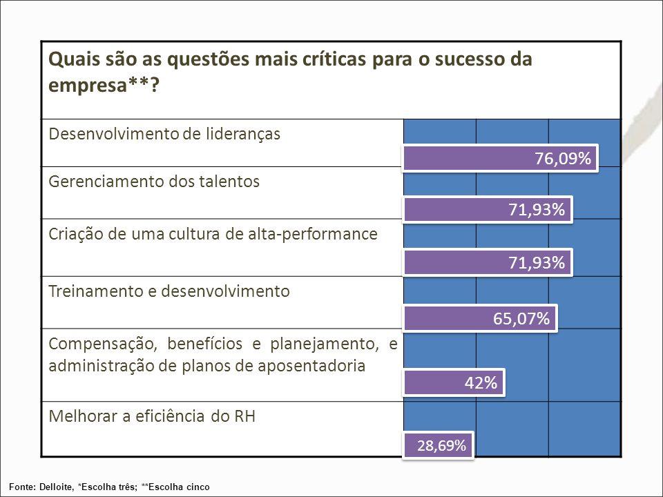Quais são as questões mais críticas para o sucesso da empresa**