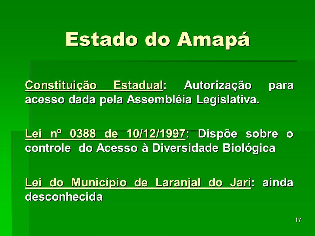 Estado do Amapá Constituição Estadual: Autorização para acesso dada pela Assembléia Legislativa.