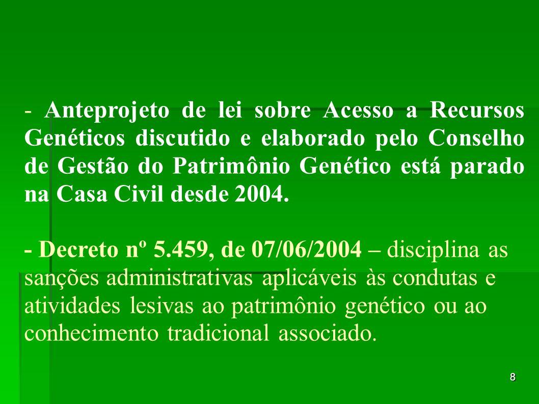 - Anteprojeto de lei sobre Acesso a Recursos Genéticos discutido e elaborado pelo Conselho de Gestão do Patrimônio Genético está parado na Casa Civil desde 2004.